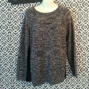 Ann Taylor LOFT gray black knit sweater size Large